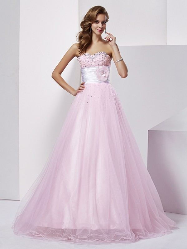 Stylish Ball Gown Sleeveless Beading Strapless Long Elastic Woven Satin Quinceanera Dresses