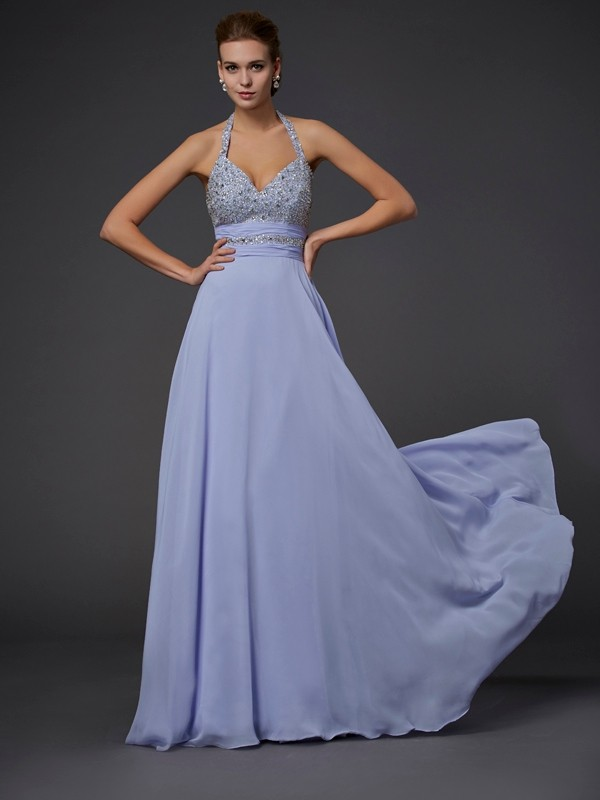 Stylish A-Line/Princess Sleeveless Beading Halter Chiffon Long Dresses