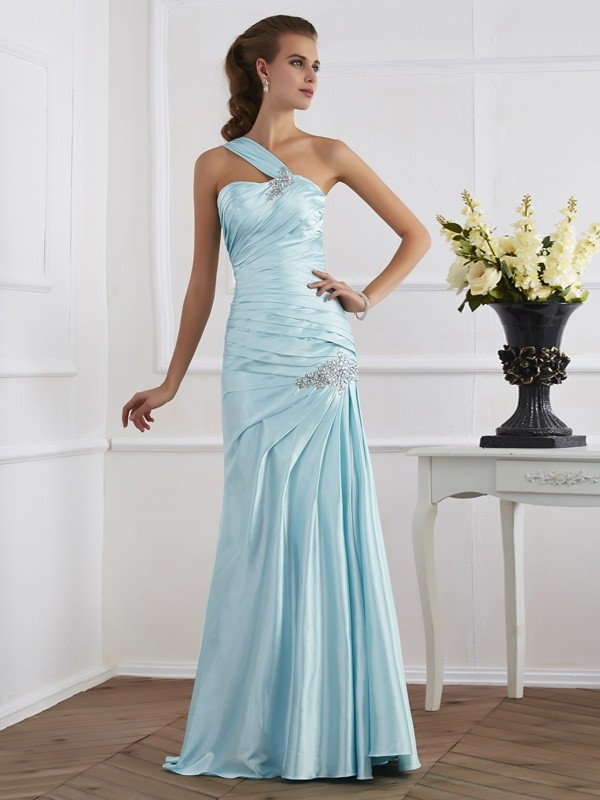 Fashion Trumpet/Mermaid Sleeveless Ruched One-Shoulder Long Elastic Woven Satin Dresses