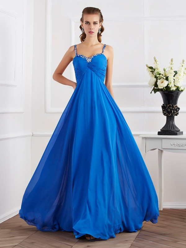 Fashion A-Line/Princess Straps Sleeveless Spaghetti Beading Applique Long Chiffon Dresses