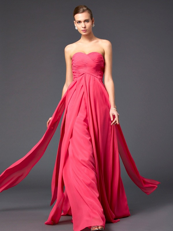 Stylish Sheath/Column Sleeveless Ruffles Sweetheart Long Chiffon Dresses