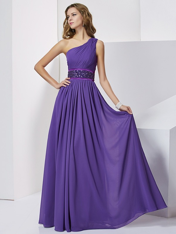 Stylish Empire Sleeveless Beading One-Shoulder Long Chiffon Dresses