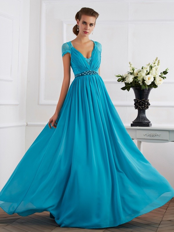 Fashion A-Line/Princess Beading Short Sleeves V-neck Long Chiffon Dresses