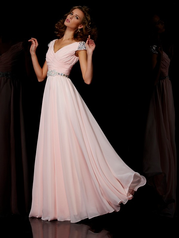 Fashion A-Line/Princess Short Sleeves Ruffles V-neck Long Chiffon Dresses