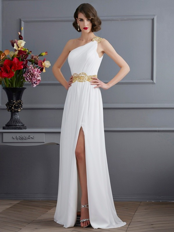 Fashion A-Line/Princess Sleeveless Ruched One-Shoulder Long Chiffon Dresses
