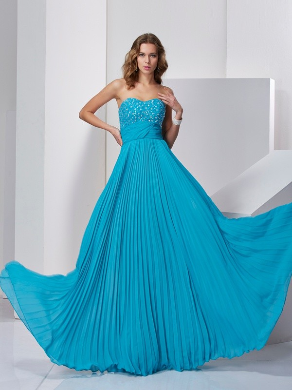Fashion A-Line/Princess Sweetheart Long Sleeveless Beading Chiffon Dresses