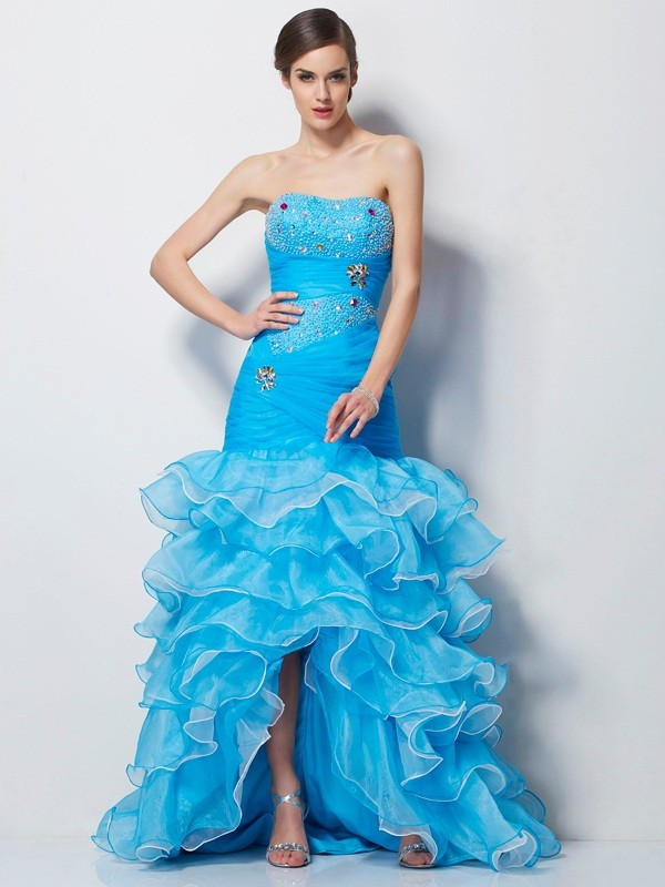 Stylish Trumpet/Mermaid Sleeveless Beading Sweetheart High Low Tulle Dresses