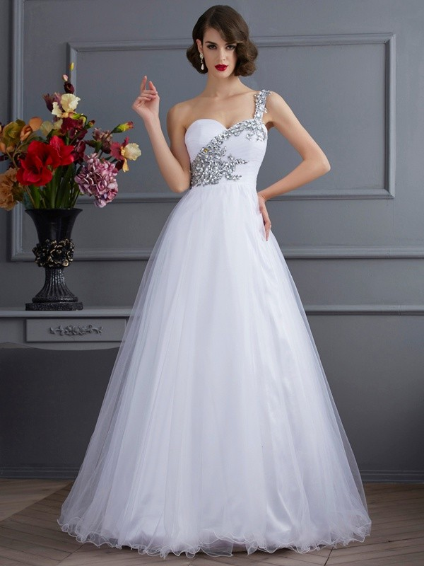 Stylish Ball Gown Sleeveless Beading One-Shoulder Long Elastic Woven Satin Quinceanera Dresses