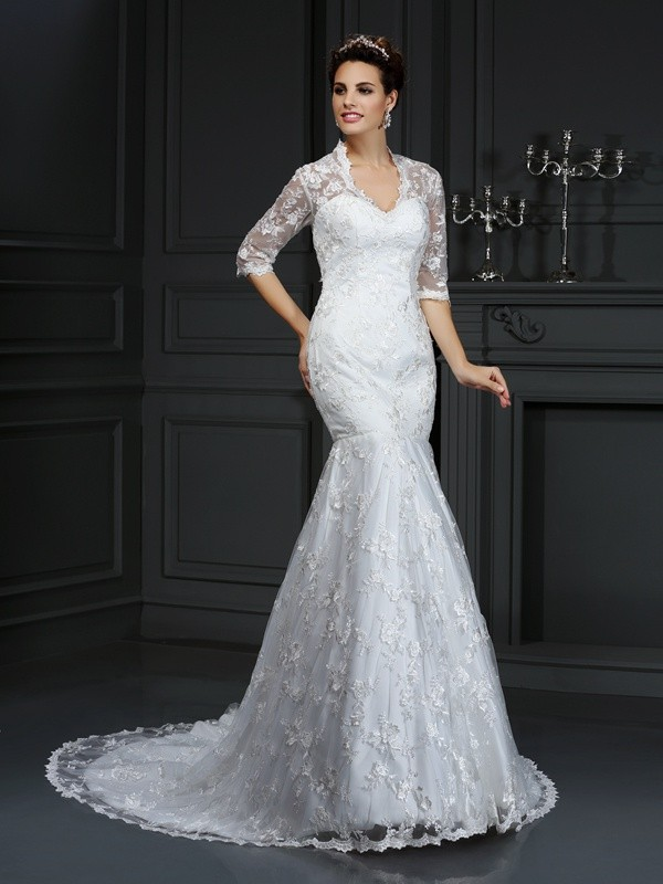Fashion Trumpet/Mermaid Lace 1/2 Sleeves V-neck Long Lace Wedding Dresses