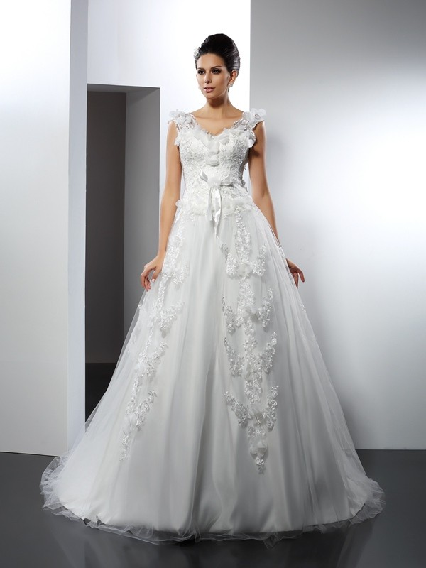 Stylish A-Line/Princess Lace Sleeveless Straps Long Satin Wedding Dresses