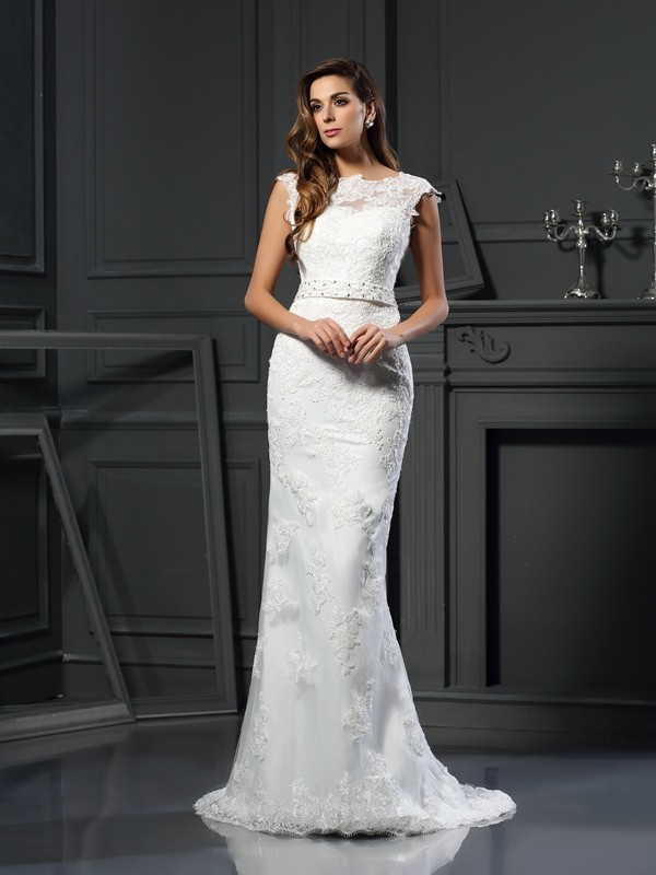 Stylish A-Line/Princess Lace Sleeveless Bateau Long Satin Wedding Dresses