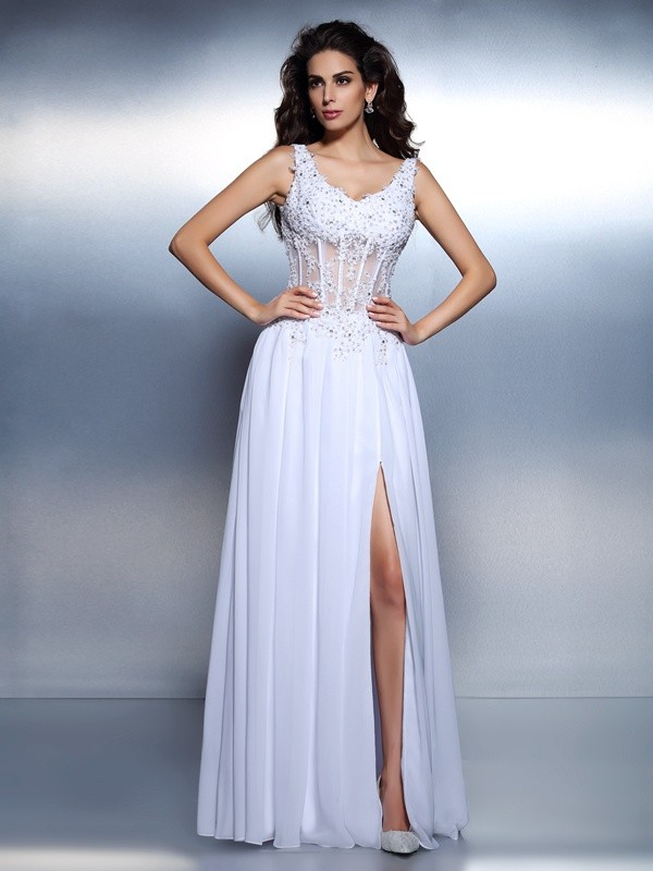Fashion A-Line/Princess Applique Sleeveless Scoop Long Chiffon Dresses