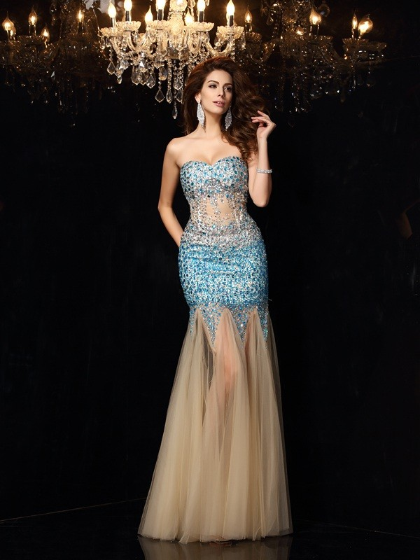 Stylish Sheath/Column Beading Sleeveless Sweetheart Long Net Dresses