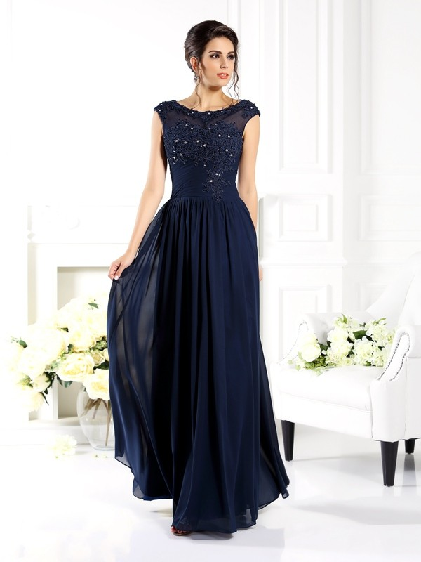 Stylish A-Line/Princess Beading Sleeveless Scoop Long Chiffon Mother of the Bride Dresses