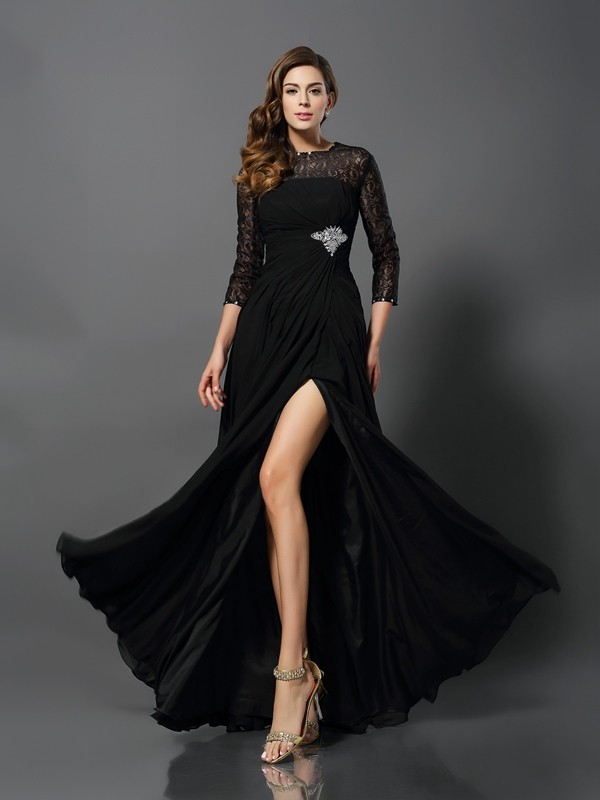 Fashion A-Line/Princess 3/4 Sleeves Long Bateau Lace Dresses