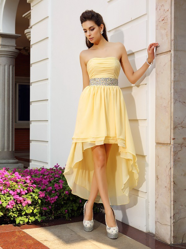 Fashion A-Line/Princess Beading Sleeveless Strapless High Low Chiffon Cocktail Dresses