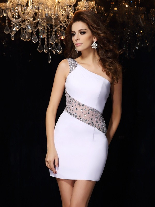 Stylish Sheath/Column Beading Sleeveless One-Shoulder Short Chiffon Cocktail Dresses