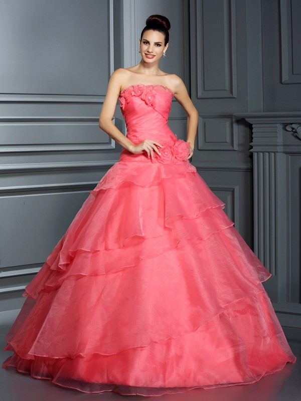 Fashion Ball Gown Hand-Made Flower Strapless Sleeveless Long Organza Quinceanera Dresses
