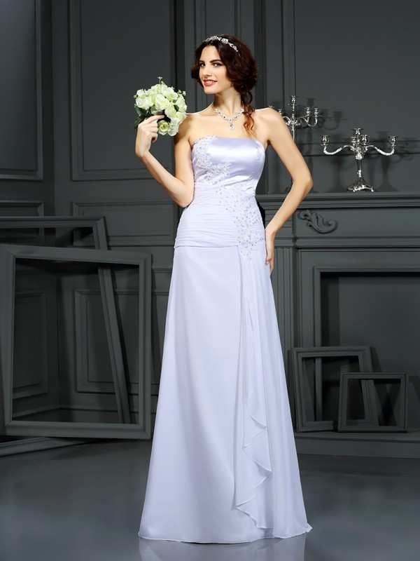 Stylish Sheath/Column Beading Sleeveless Strapless Long Chiffon Wedding Dresses