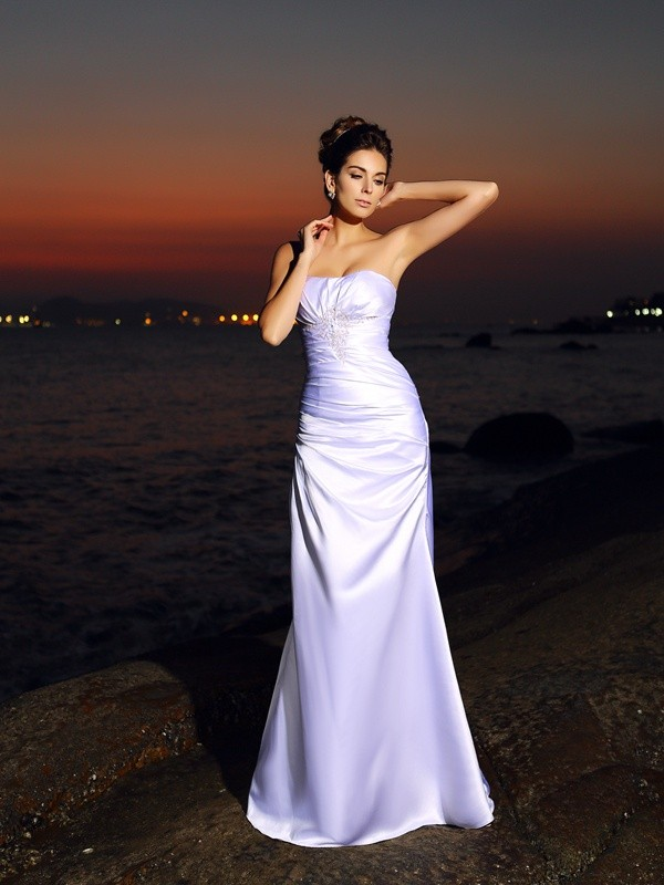 Fashion Trumpet/Mermaid Sleeveless Long Sweetheart Satin Beach Wedding Dresses