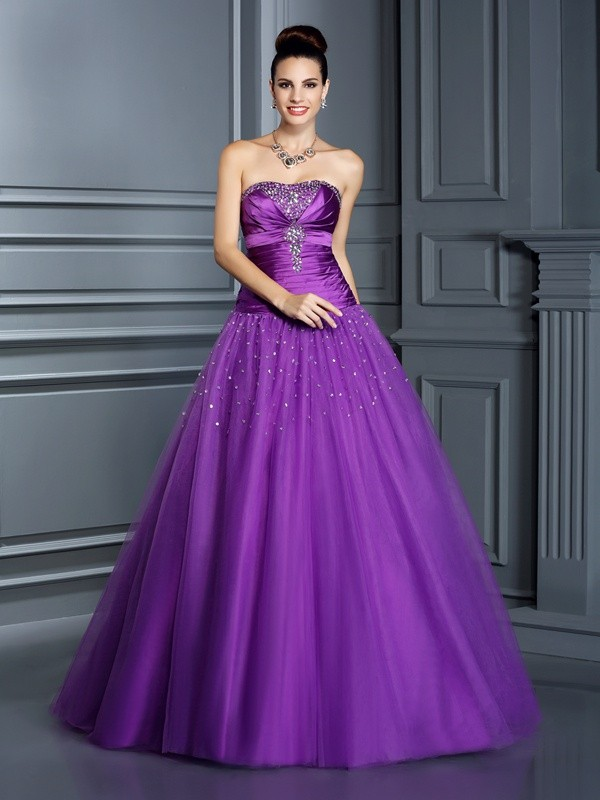 Stylish Ball Gown Sleeveless Long Strapless Taffeta Quinceanera Dresses