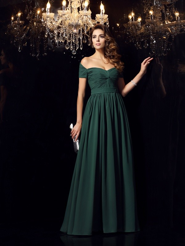 Fashion A-Line/Princess Ruched Sleeveless Off-the-Shoulder Long Chiffon Dresses