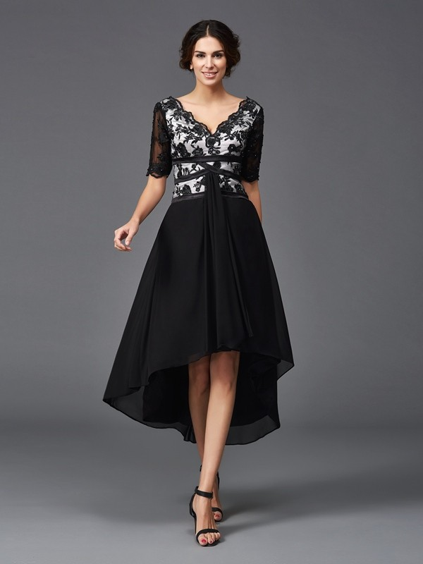 Stylish A-Line/Princess Lace 1/2 Sleeves V-neck High Low Chiffon Dresses