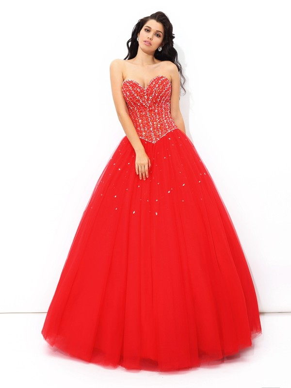 Fashion Ball Gown Beading Sleeveless Sweetheart Long Net Quinceanera Dresses