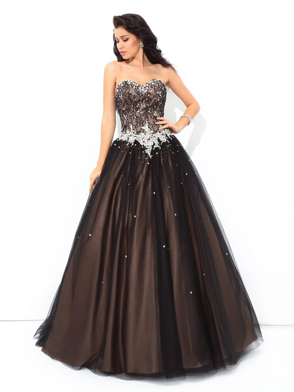 Stylish Ball Gown Beading Sleeveless Sweetheart Long Net Quinceanera Dresses