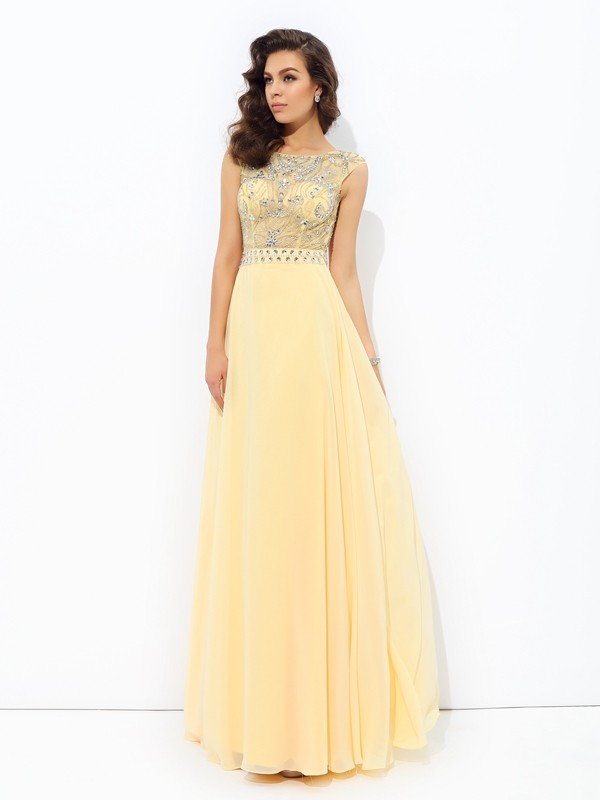 Stylish A-line/Princess Beading Sleeveless Bateau Long Chiffon Dresses