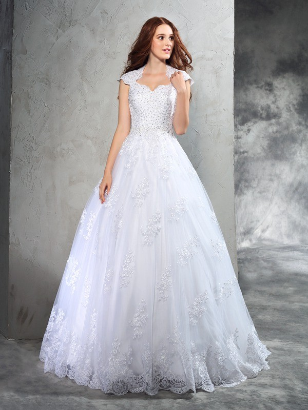 Stylish Ball Gown Lace Sleeveless Sweetheart Long Organza Wedding Dresses