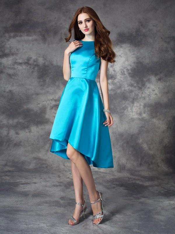 Stylish A-line/Princess Ruffles Sleeveless Bateau High Low Satin Bridesmaid Dresses