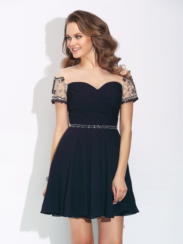 Stylish A-Line/Princess Beading Short Sleeves Jewel Short Chiffon Dresses