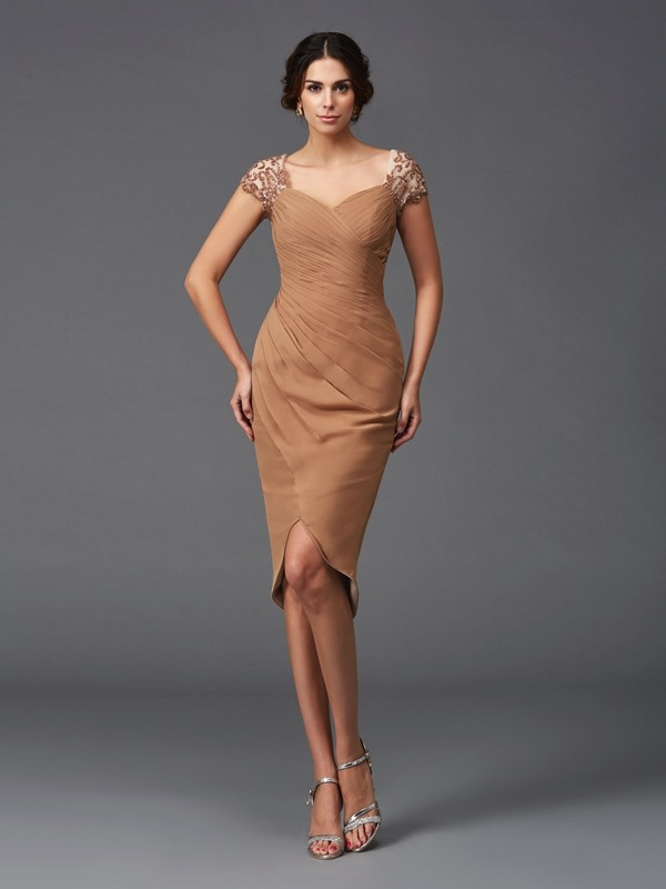 Fashion Sheath/Column Applique Short Sleeves Sweetheart High Low Chiffon Cocktail Dresses