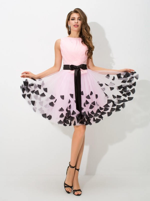 Stylish A-Line/Princess Bowknot Sleeveless High Neck Short Net Cocktail Dresses