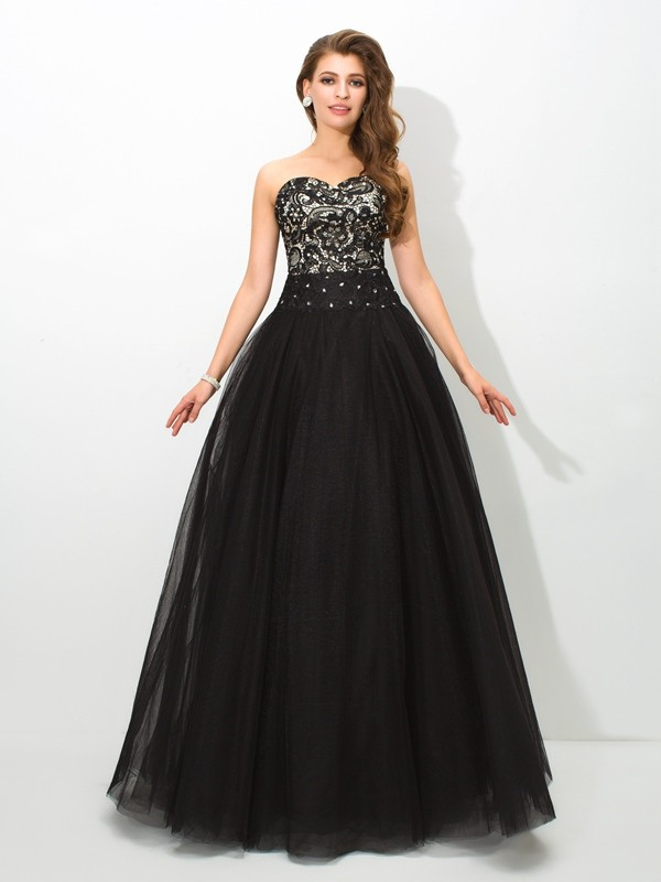 Stylish Ball Gown Lace Sleeveless Sweetheart Long Net Quinceanera Dresses