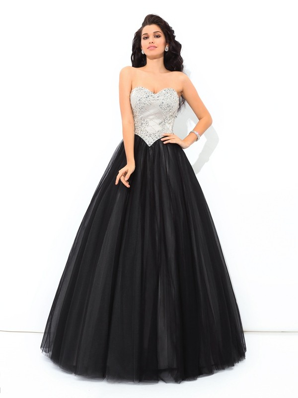 Fashion Ball Gown Paillette Sleeveless Sweetheart Long Net Quinceanera Dresses