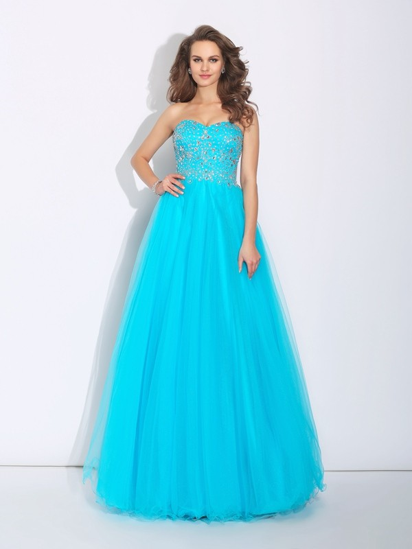 Stylish A-Line/Princess Rhinestone Sleeveless Sweetheart Long Satin Dresses