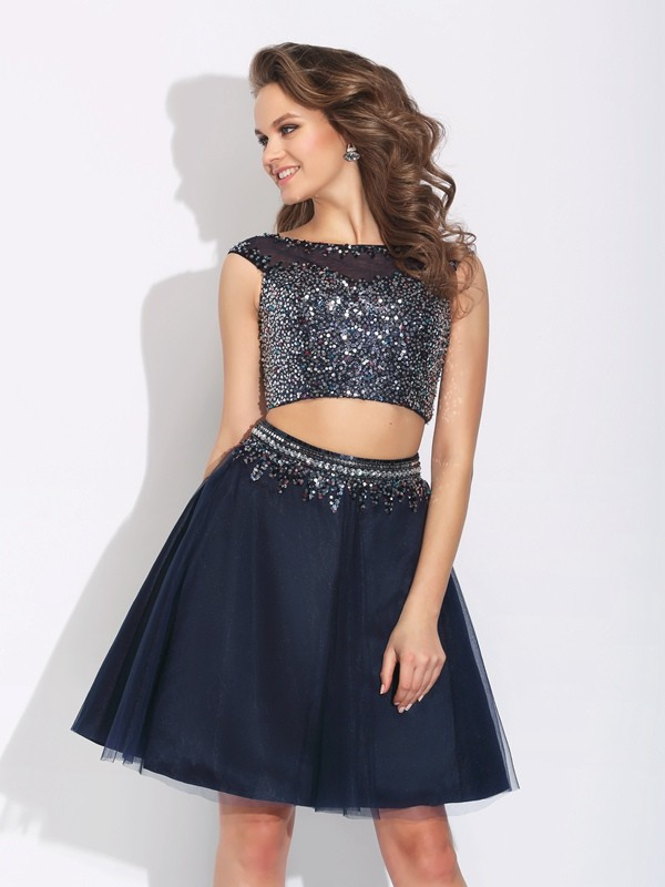 Fashion A-Line/Princess Beading Sleeveless Bateau Short Net Two Piece Dresses