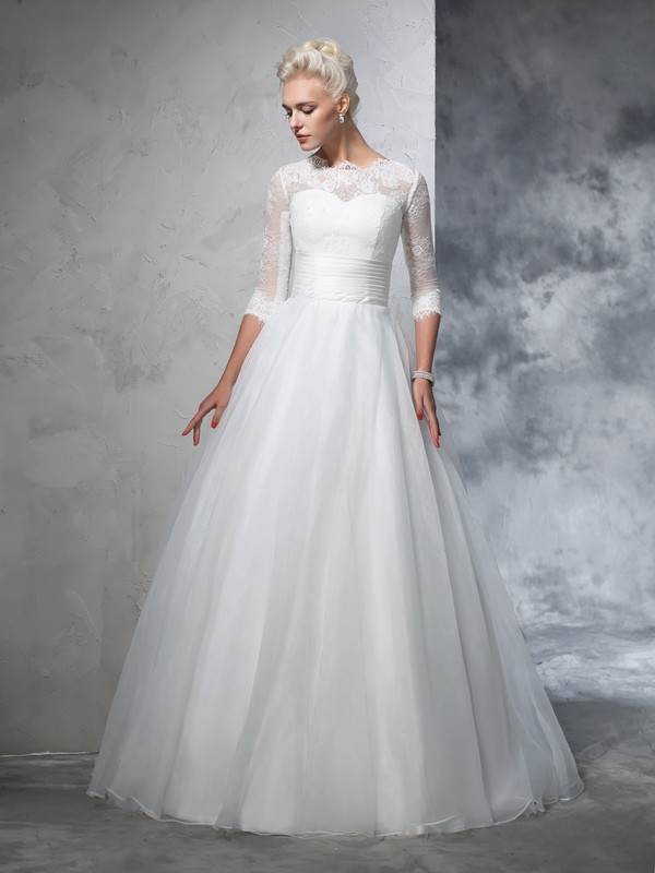 Fashion Ball Gown Applique 3/4 Sleeves Jewel Long Organza Wedding Dresses