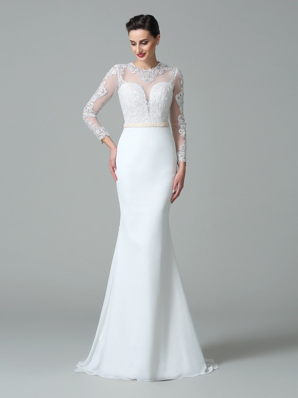 Stylish Trumpet/Mermaid Lace Long Sleeves Jewel Long Satin Wedding Dresses