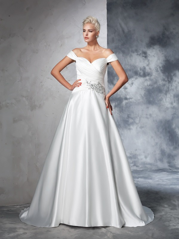 Fashion Ball Gown Ruched Sleeveless Off-the-Shoulder Long Taffeta Wedding Dresses