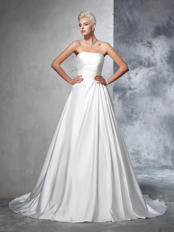 Fashion Ball Gown Ruched Sleeveless Strapless Long Satin Wedding Dresses