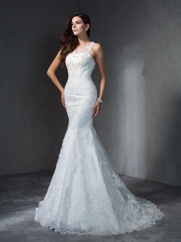 Fashion Trumpet/Mermaid Applique Sleeveless Scoop Long Lace Wedding Dresses