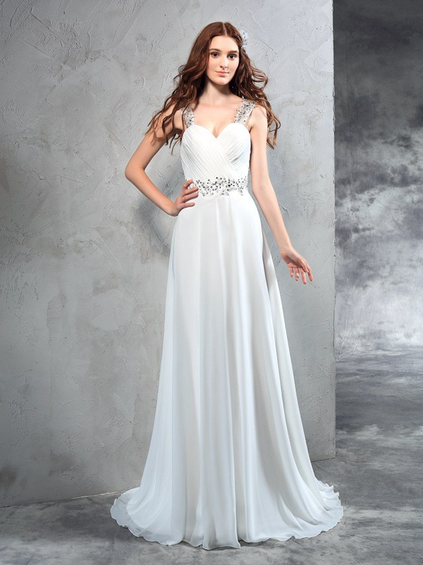 Stylish A-Line/Princess Pleats Sleeveless Sweetheart Long Chiffon Wedding Dresses