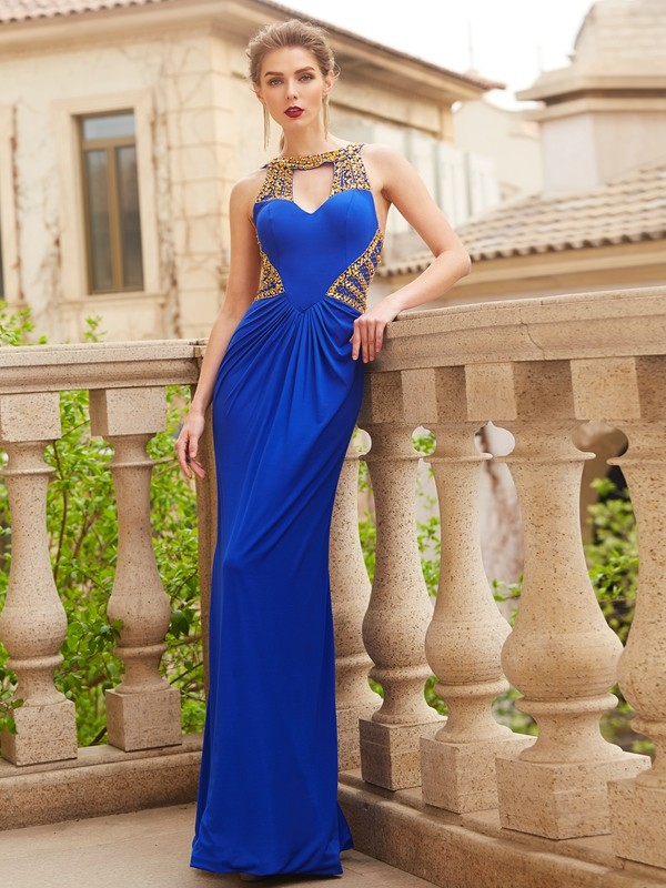 Stylish Sheath/Column Sleeveless Floor-Length Scoop Beading Spandex Dresses