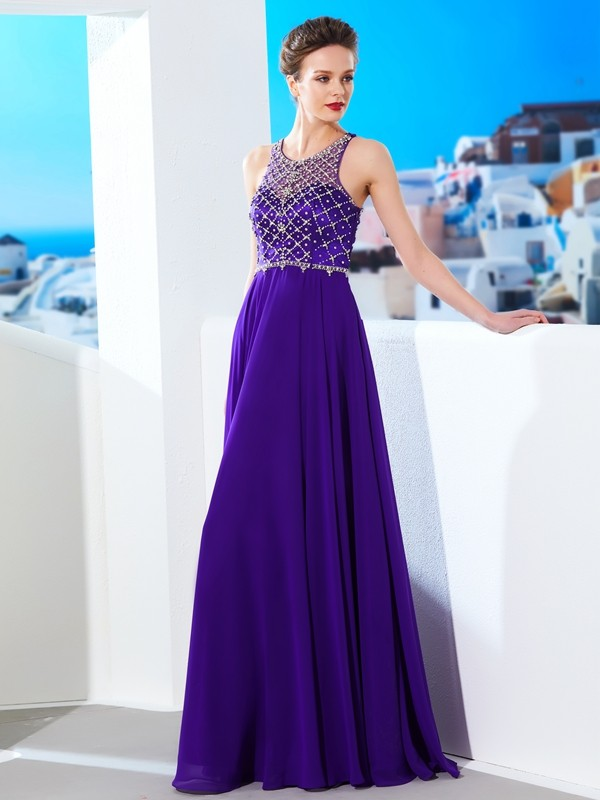 Stylish A-Line/Princess Chiffon Scoop Sleeveless Crystal Floor-Length Dresses
