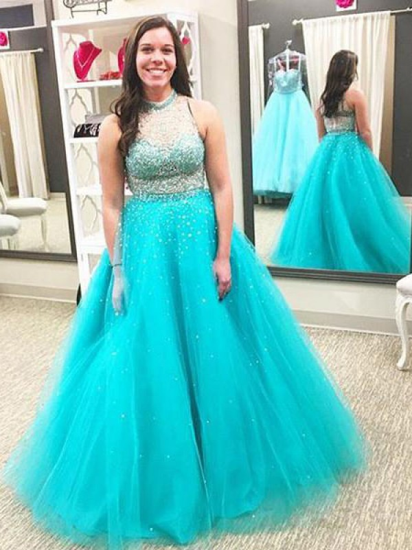 Ball Gown High Neck Sleeveless Beading Floor Length Tulle Plus Size
