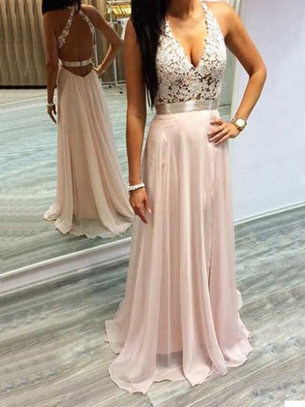 Fashion A-Line/Princess Sleeveless Chiffon Halter Lace Sweep/Brush Train Dresses