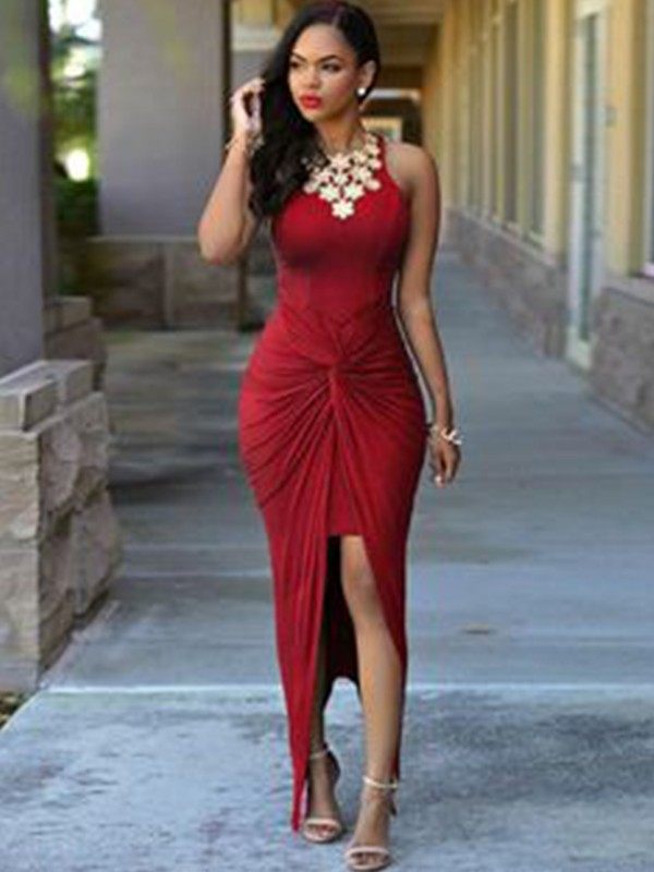 Sheath/Column Sleeveless Jewel Ankle-Length Spandex Beading Asymmetrical Dresses